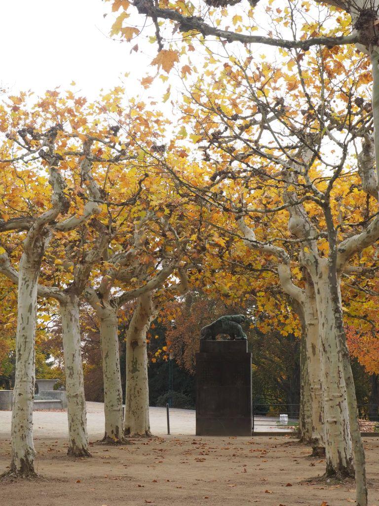 Der Plantanenhain der Künstlerkolonie ist mit Skulpturen von Bernhard Hoetger ausgestattet, die sich mit dem Kreislauf des Werdens und Vergehens beschäftigen