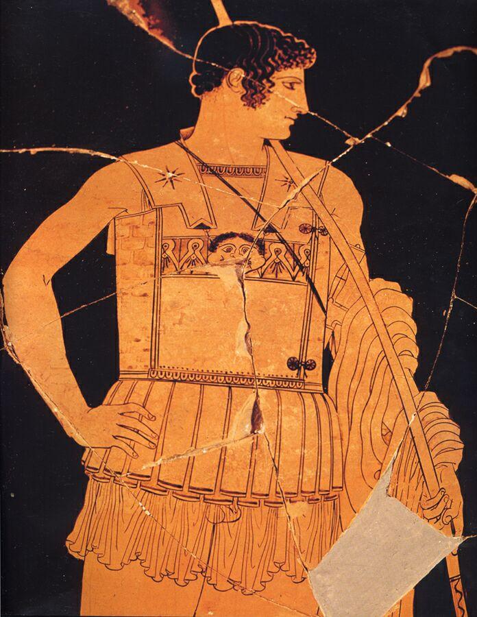 Ахилл-копьеносец. Рисунок на краснофигурной вазе. Середина 5 века до н.э. Музей Ватикана