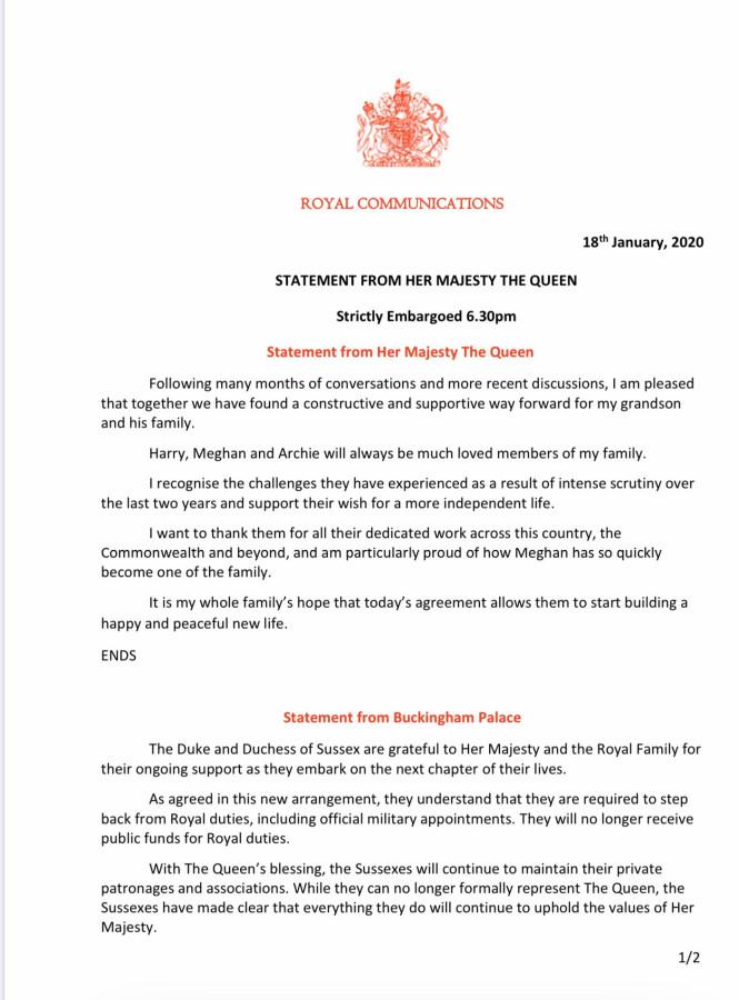 Новое заявление от Елизаветы Второй по поводу Сассекских.