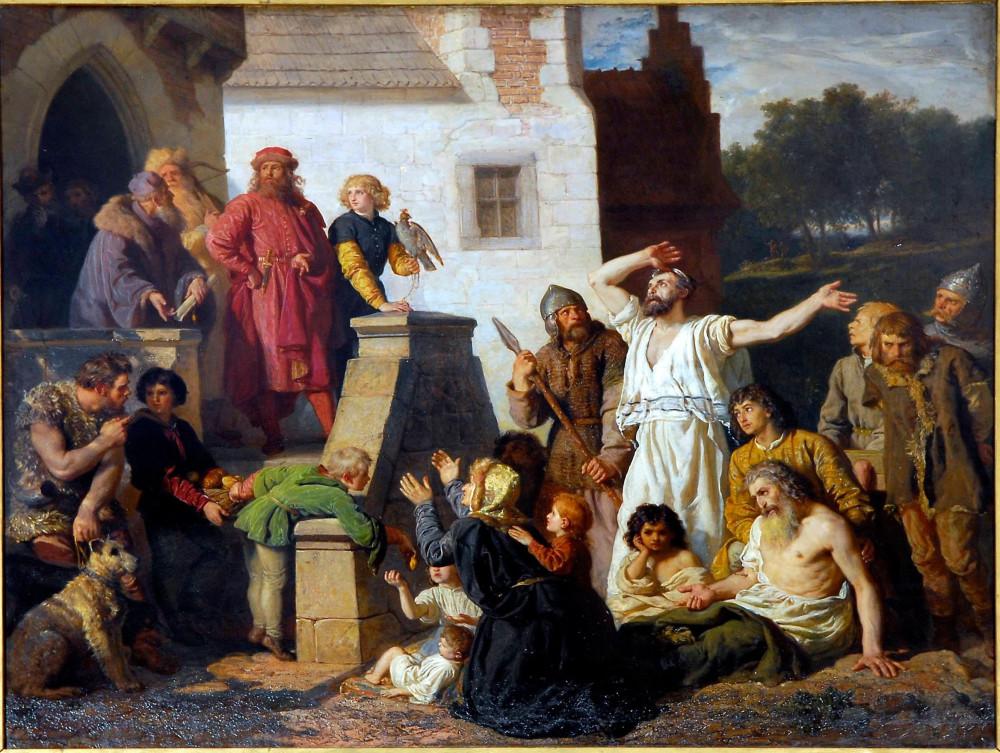 Казимир Великий и евреи, молящие принять их в Польше (1874)