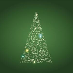 Christmas Tree on Green Background Illustration iPad Wallpaper HD