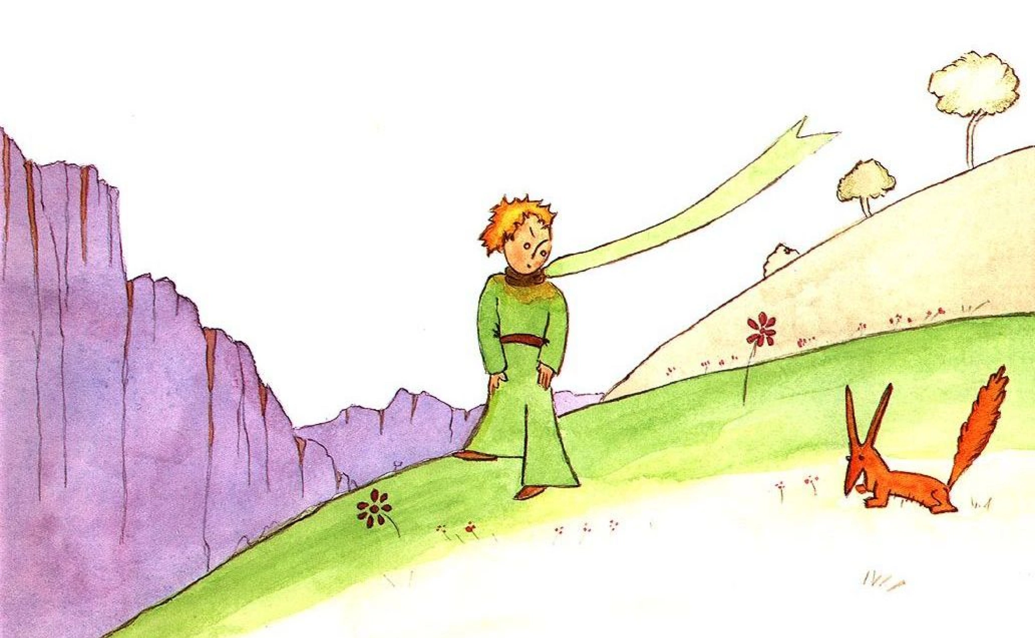 Лис с очень длинными ушами (рисунок Антуана де Сент-Экзюпери)