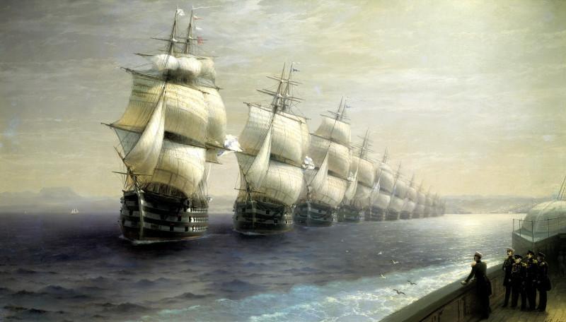 Иван Айвазовский «Смотр Черноморского флота в 1849 году» (1886)