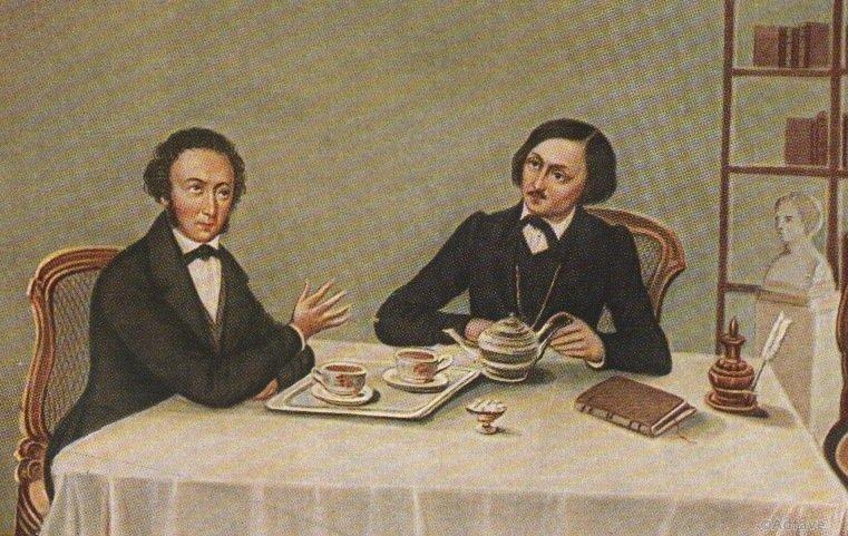 А. С. Пушкин и Н. В. Гоголь. Миниатюра А. Алексеева. 1847