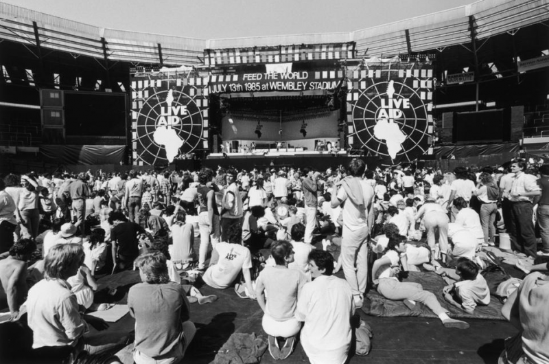 A view of the crowd in front of the stage at the Live Aid charity concert, Wembley Stadium, London, 13th July 1985. (Photo by Dave Hogan/Hulton Archive/Getty Images)