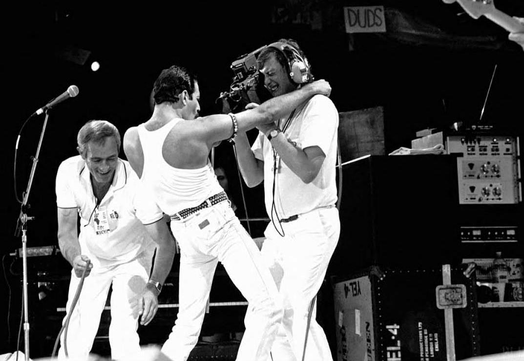 Queen performs at Live Aid in London in 1985