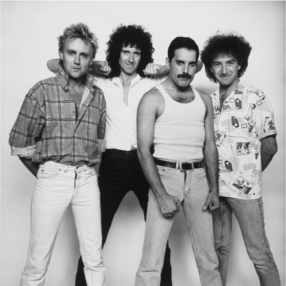 Queen photographed by David Bailey backstage at Live Aid, Wembley Stadium, London