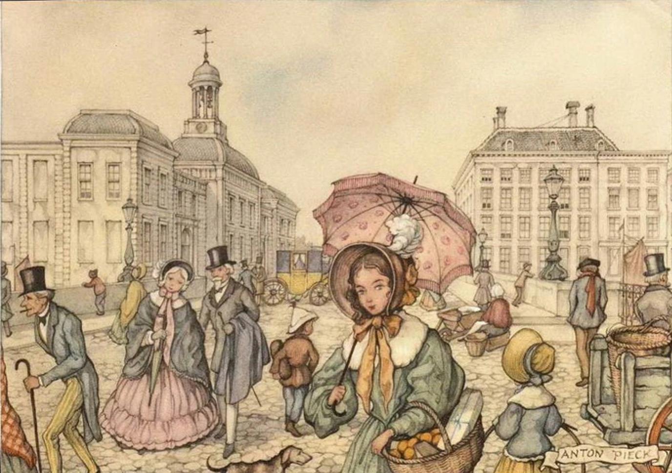 Антон Пик «Сцена на городской площади» (1950-е)