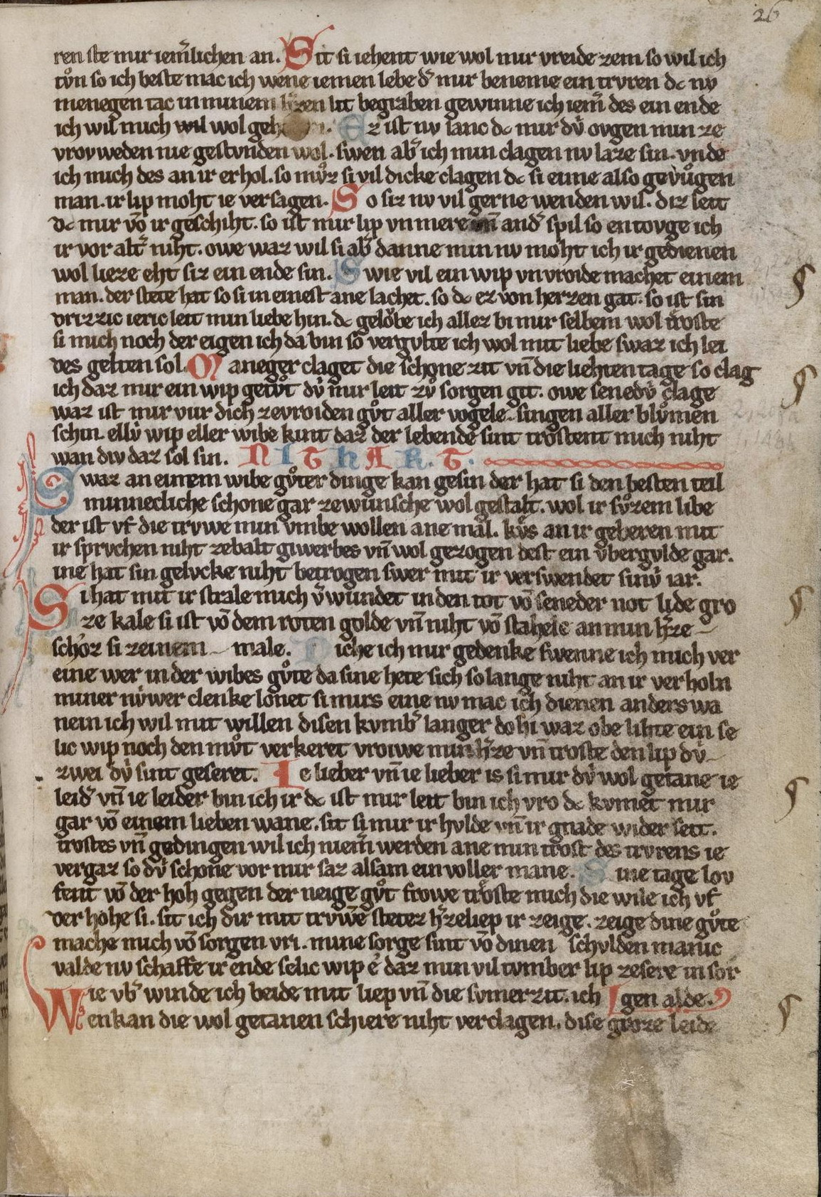 Kleine Heidelberger Liederhandschrift, fol. 26r (13th century)