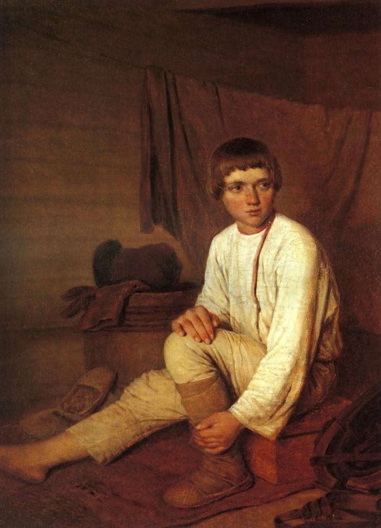 Алексей Венецианов «Крестьянский мальчик, надевающий лапти» (1820)