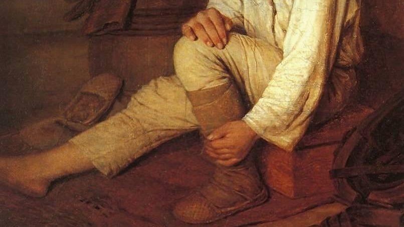 Алексей Венецианов «Крестьянский мальчик, надевающий лапти» (фрагмент)