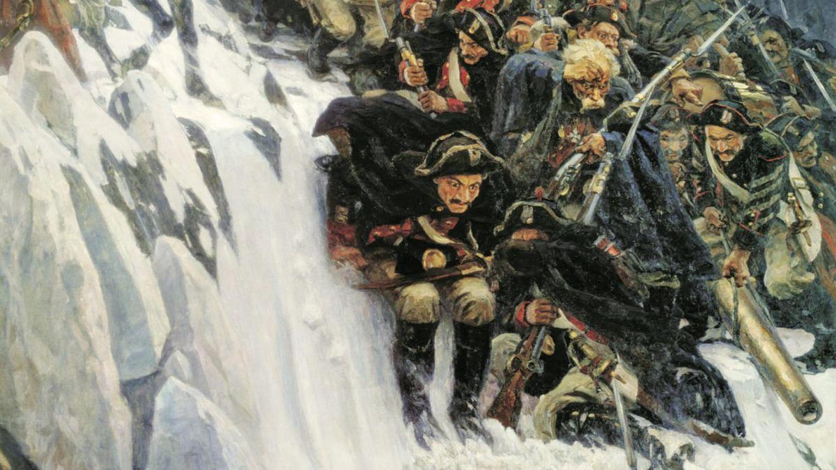 Василий Суриков «Переход Суворова через Альпы» (фрагмент)