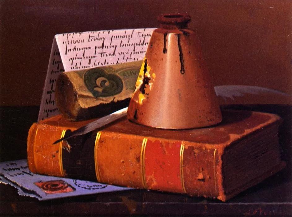Джон Фредерик Пето «Перо и чернильница на старой книге»