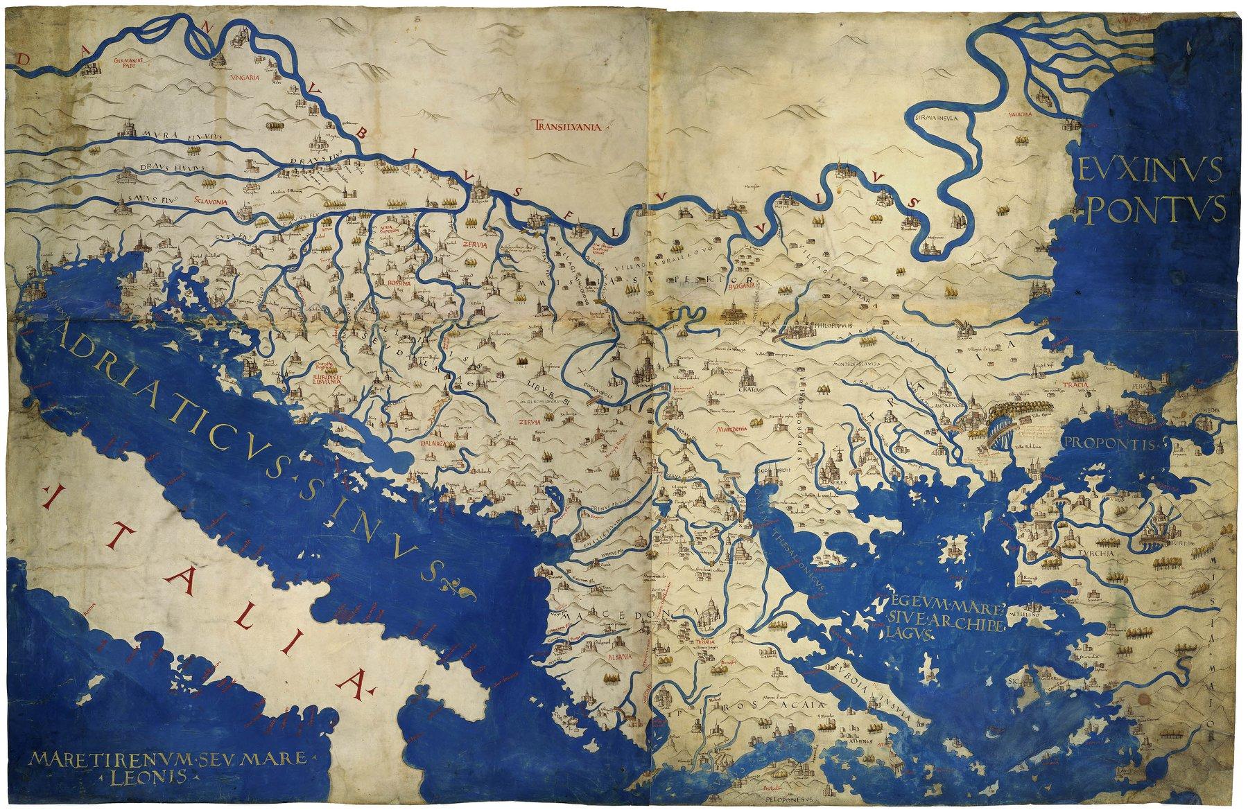 Карта Балканского полуострова, предположительно итальянского происхождения, XVI в. (из собрания Австрийской национальной библиотеки)