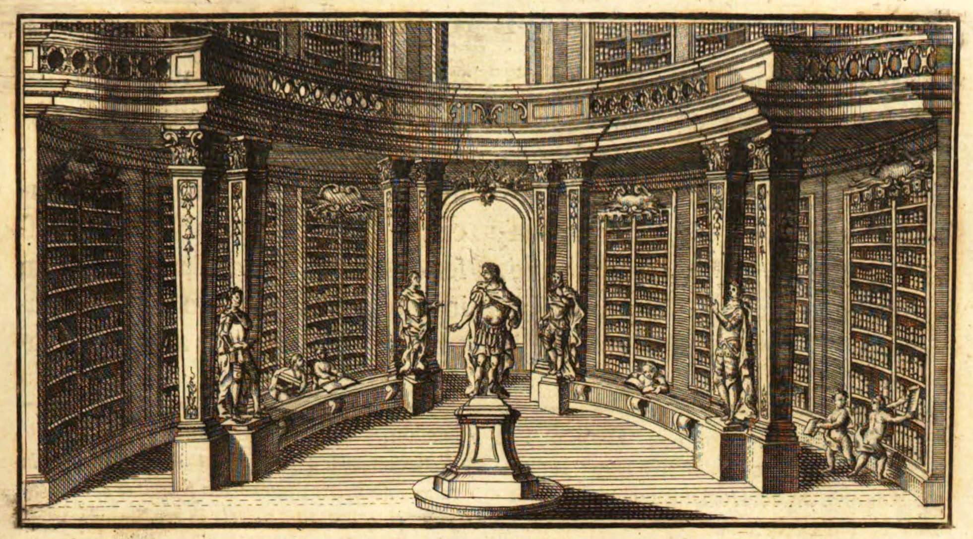 Prunksaal в XVIII в. (гравюра из собрания Австрийской национальной библиотеки)