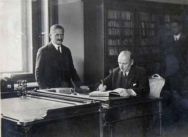 Хуго Штайнер и президент Австрии Вильгельм Миклас, 1936