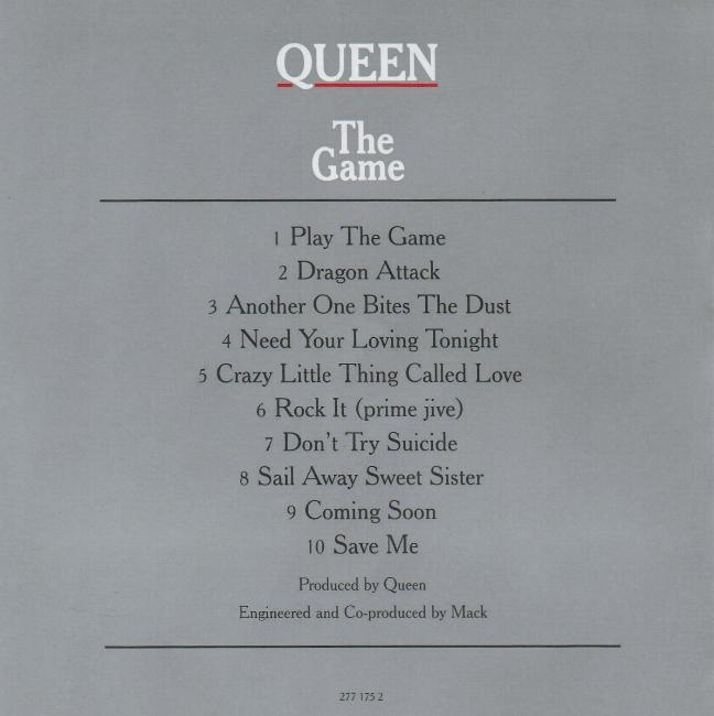 Трек-лист альбома The Game (обратная сторона обложки альбома)