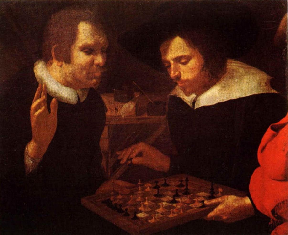 Карел Мандер «Шахматисты» (1603). На картине предположительно изображены Бен Джонсон и Уильям Шекспир