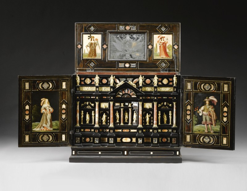 An Italian gilt-bronze-pietre dure and marble-mounted ivory inlaid rosewood and parquetry table cabinet mid 17th century and later. (Sotheby's)