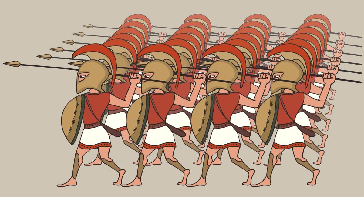 Фаланга гоплитов (тяжеловооруженных пеших воинов, составлявших до эпохи Филипа II, отца Александра Македонского, основу греческой армии)