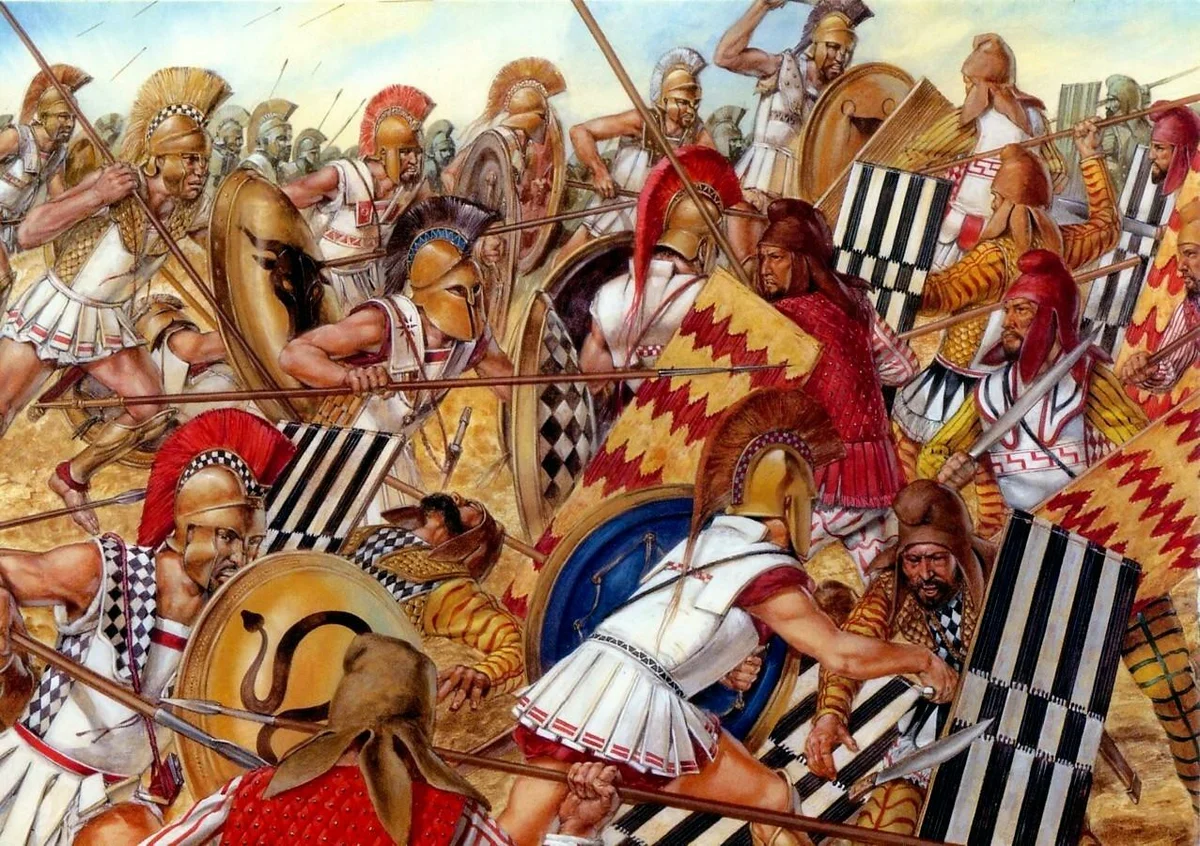 Так примерно и проходила битва при Марафоне в 490 году до нашей эры