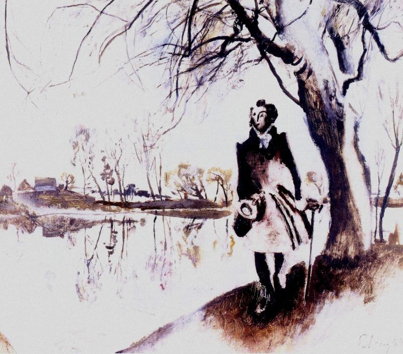 Е. Е. Моисеенко «А. С. Пушкин в Болдино» (1974)