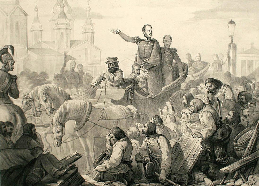 Император Николай I своим присутствием усмиряет холерный бунт в Санкт-Петербурге в 1831 году. Литография из французского периодического издания Album Cosmopolite (1839)