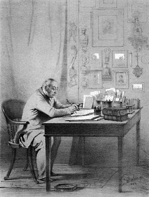 Ф. В. Булгарин в своем кабинете (гравюра В. Ф.Тимма, 1853)