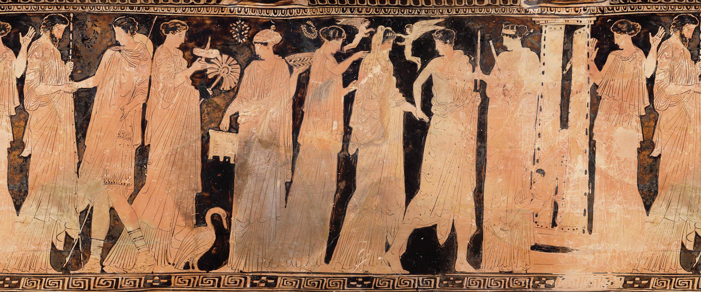 Сцена с изображением свадебного шествия с лутрофора (сосуда для омовений), 450–425 г. до н.э. (Музей изящных искусств, Бостон)