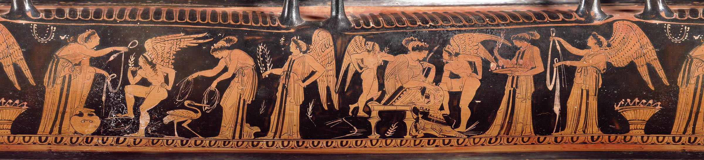 Сцена с изображением свадебного шествия с лебес-гамикоса (дарственного сосуда), конец V — начало IV в. до н.э. (Музей изящных искусств, Бостон)