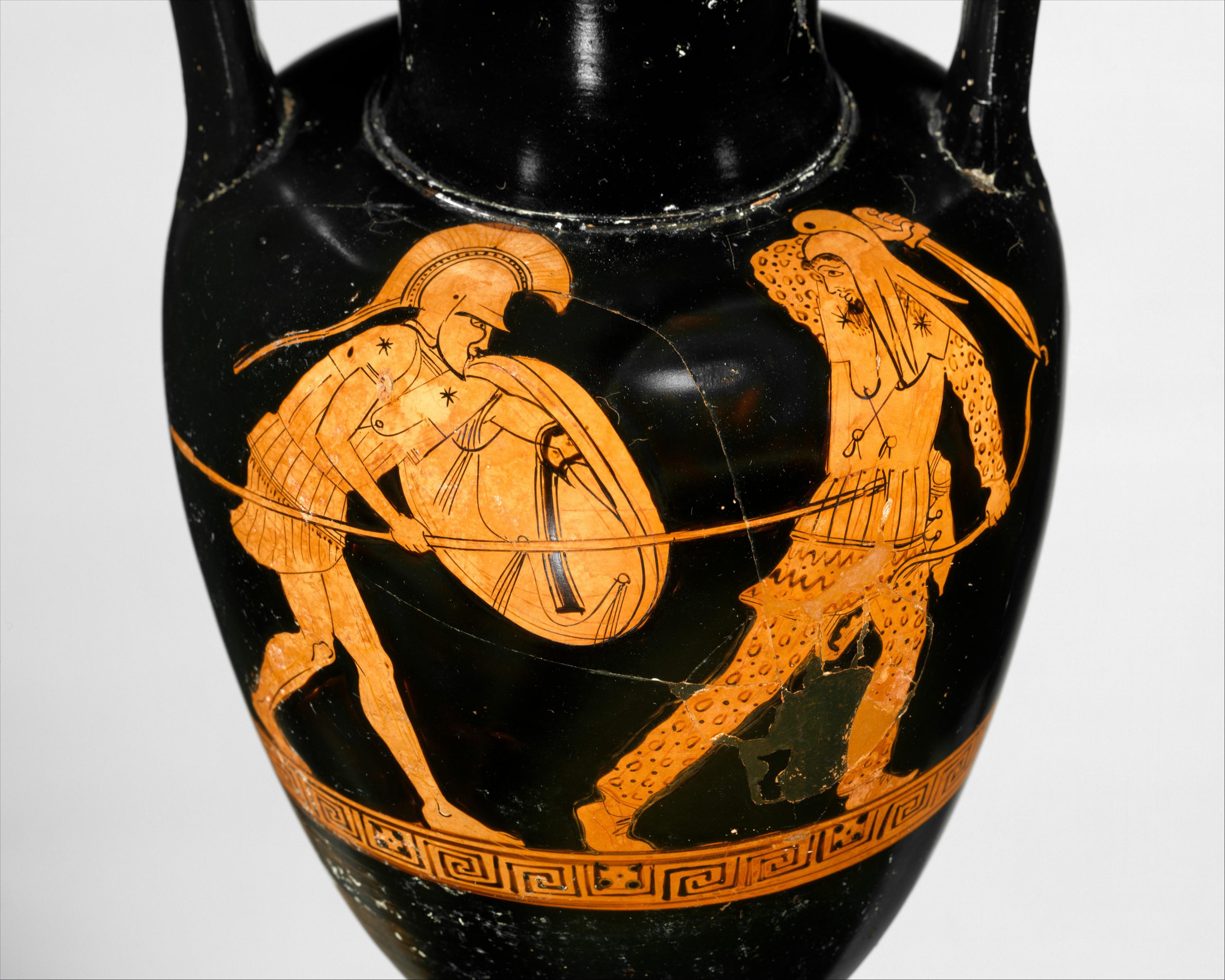 Сцена с аверса амфоры: битва эллина с персидским лучником; ок. 480 — 470 гг. до н. э. (Метрополитен-музей, Нью-Йорк)