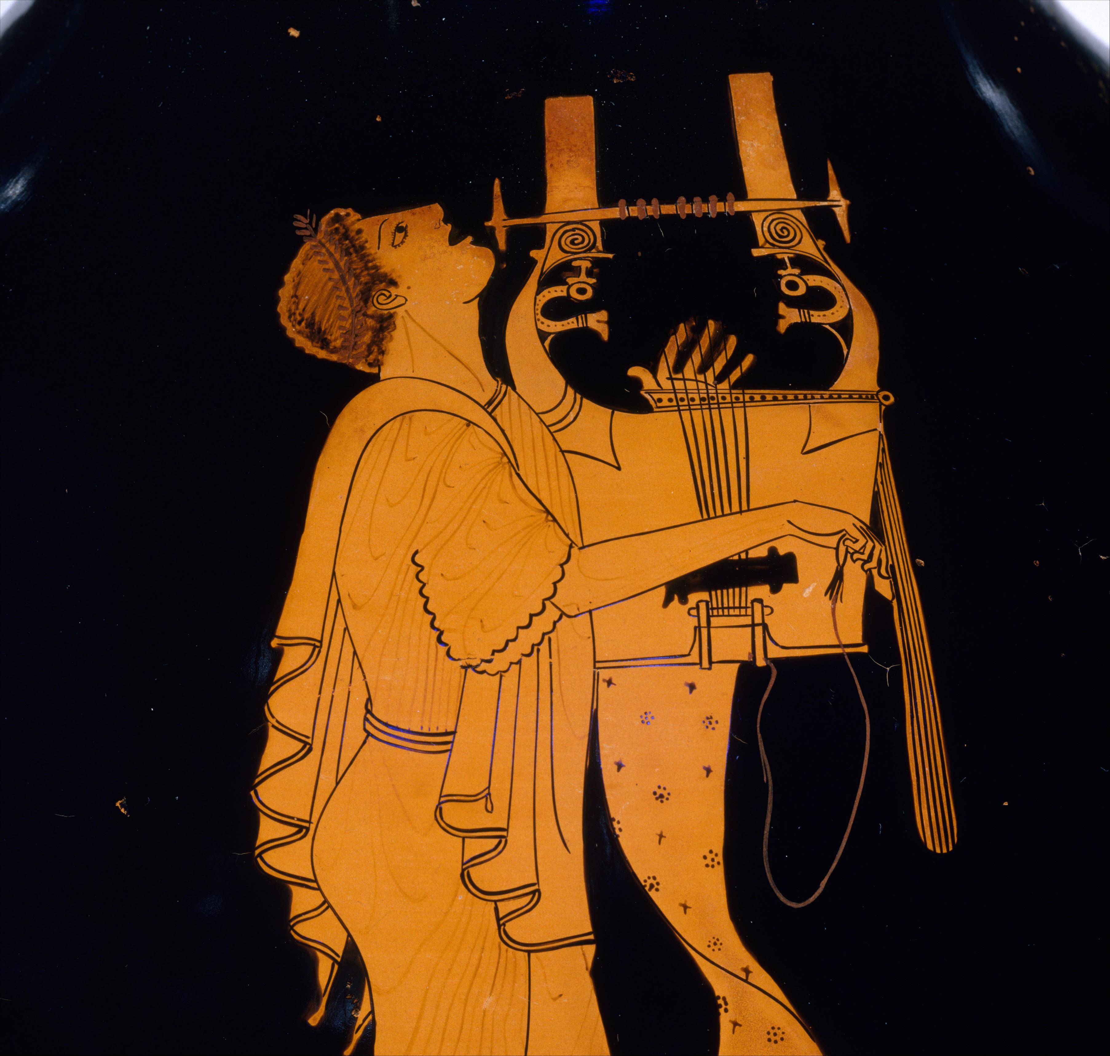 Кифаред на аверсе амфоры — шедевр древнегреческой вазописи, приписываемый берлинскому вазописцу; ок. 490 г. до н. э. (Метрополитен-музей, Нью-Йорк)