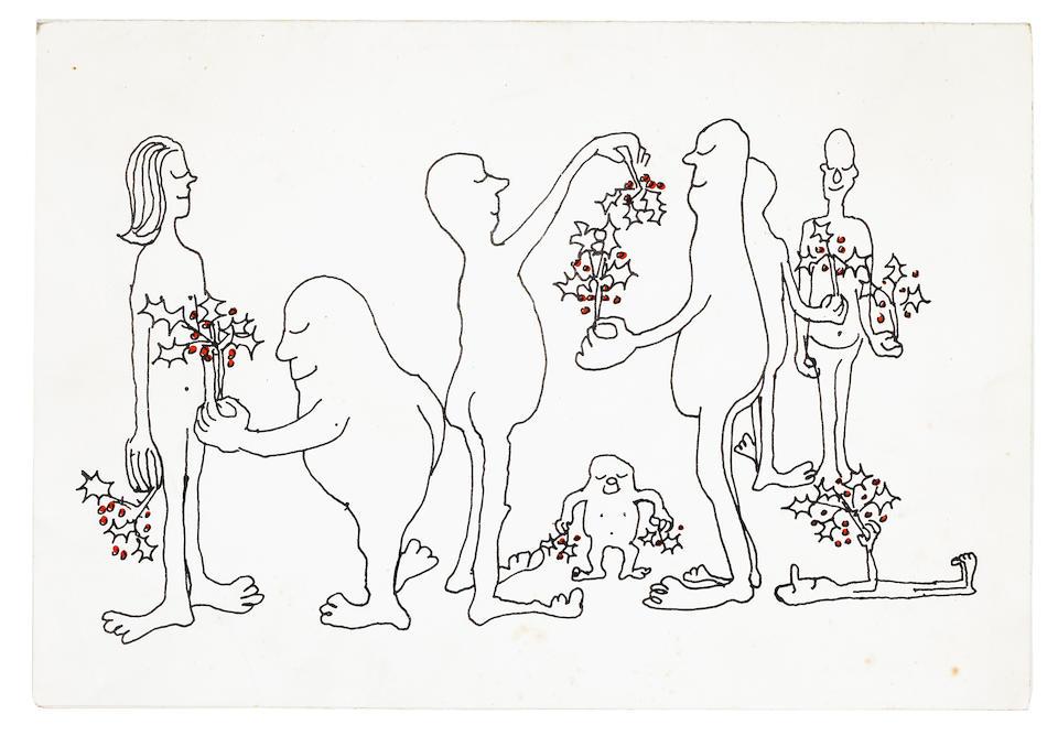 Оригинальная рождественская открытка от The Beatles певице Альме Коган с иллюстрацией Джона Леннона, 1964. Альма Коган, самая успешная британская певица 1950-х годов, в начале 60-х подружилась с Брайаном Эпштейном и Beatles. Группа несколько раз навещала ее в Кенсингтоне (Лондон), включая вечеринку по случаю дня рождения Альмы незадолго до их зарубежного турне в июне 1964 года. Среди последних записей Альмы в 1965 году были кавер-версии Yesterday, Eight Days A Week и Help. Она умерла от рака в октябре 1966 года в возрасте 34 лет.