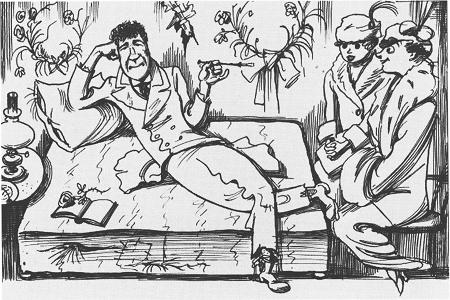 Игорь Северянин и его дамы (шарж, 1915 год). Источник: www.poet-severyanin.ru