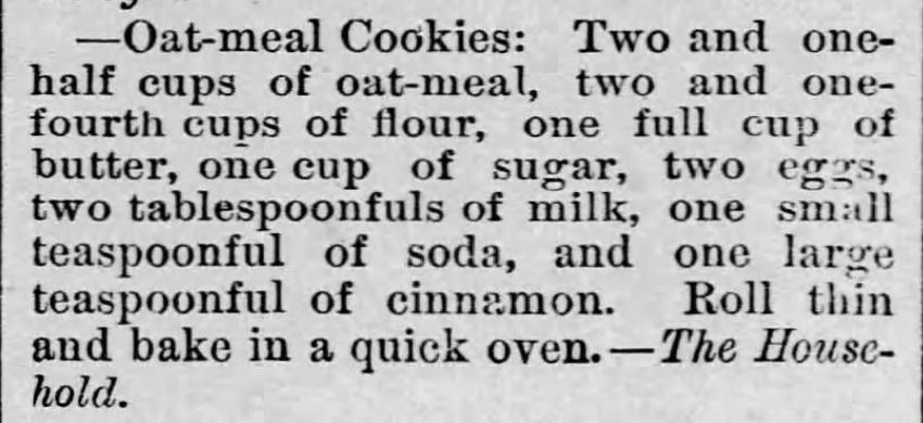 Рецепт овсяного печенья с корицей. Опубликован в LeRoy Reporter, Лерой, Канзас, 26 июня 1886 года