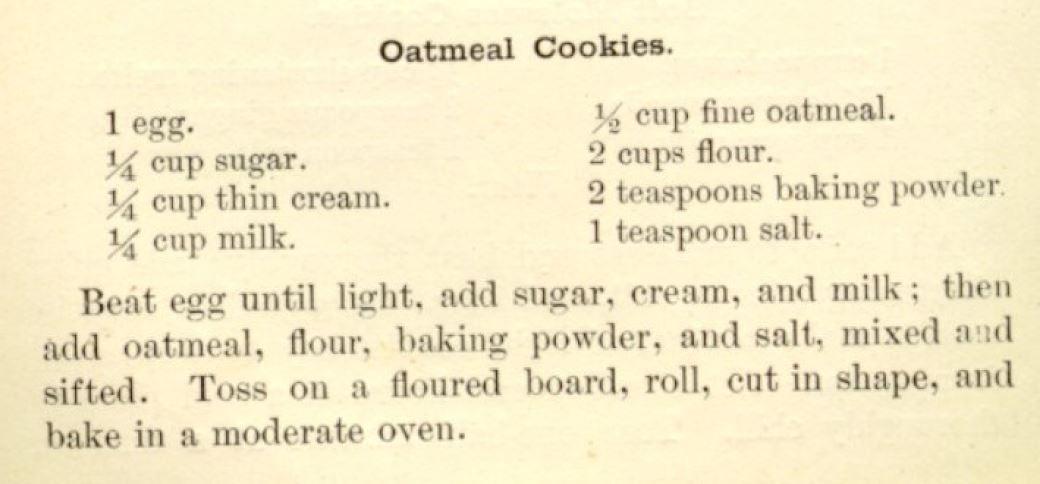 Рецепт овсяного печенья из «Поваренной книги Бостонской кулинарной школы» Фанни Фармер, 1896 .