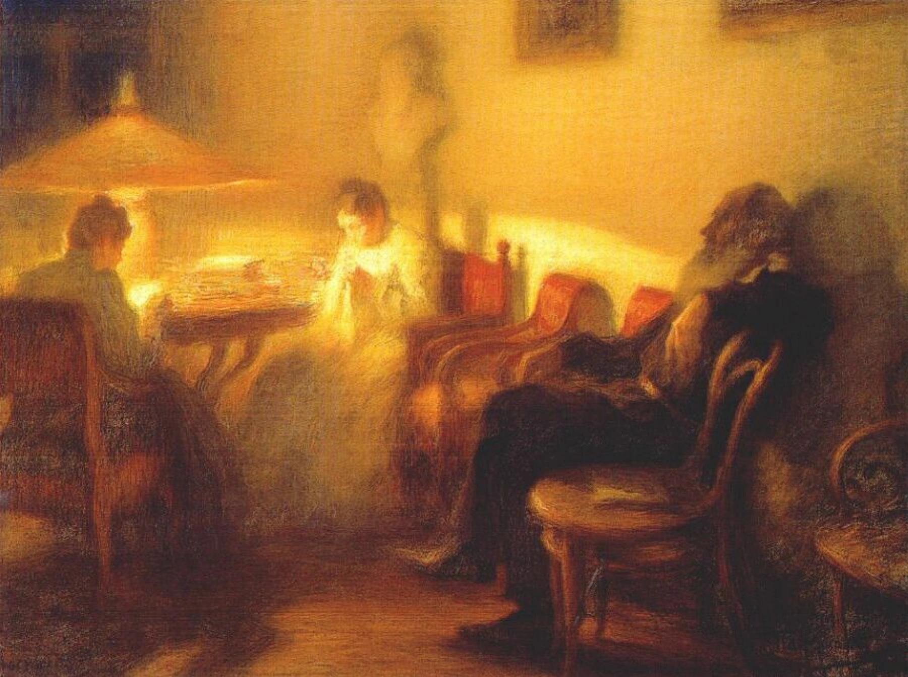 Леонид Пастернак «Лев Толстой с семьей в Ясной Поляне» (1902)