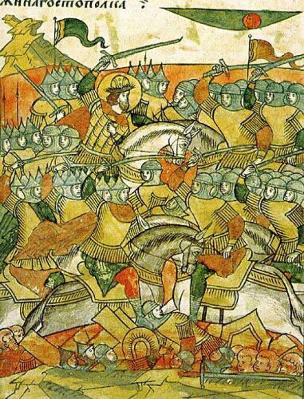 «Князь Александр Невский в битве на Чудском озере».Миниатюра из «Лицевого летописного свода»