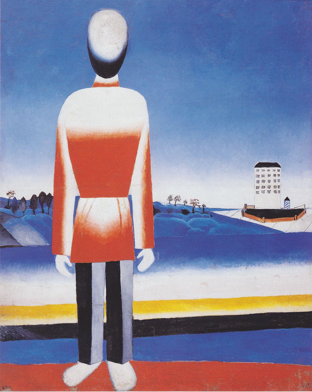 Казимир Малевич  «Мужчина в супрематическом пейзаже», 1930.