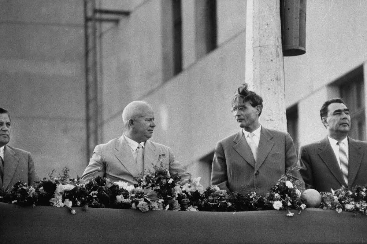 На фото: Н.С. Хрущев, М. А. Суслов, Л. И. Брежнев