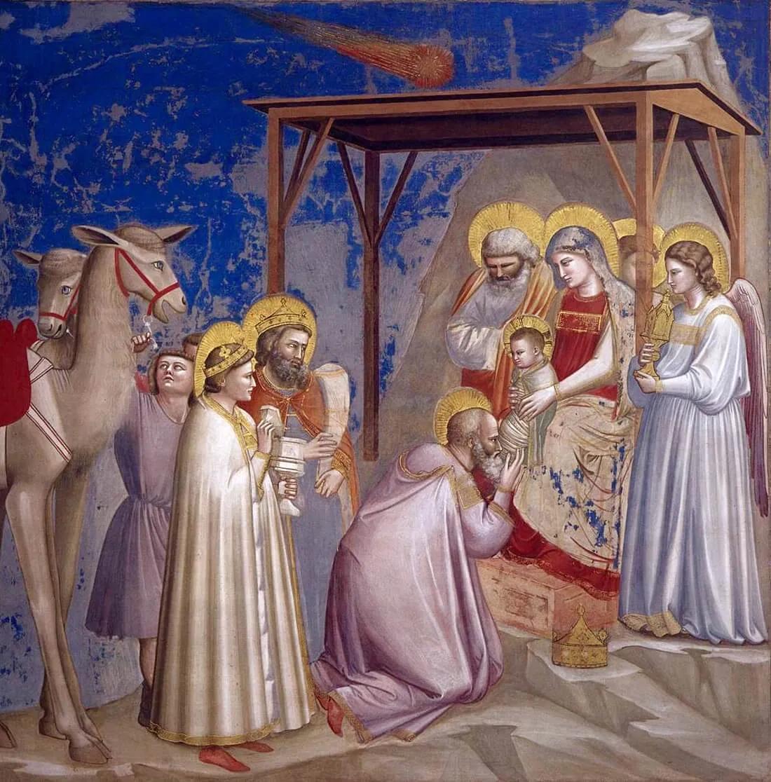 Джотто ди Бондоне «Поклонение волхвов» (1304 — 1306). Фреска капеллы дель Арена, Падуя
