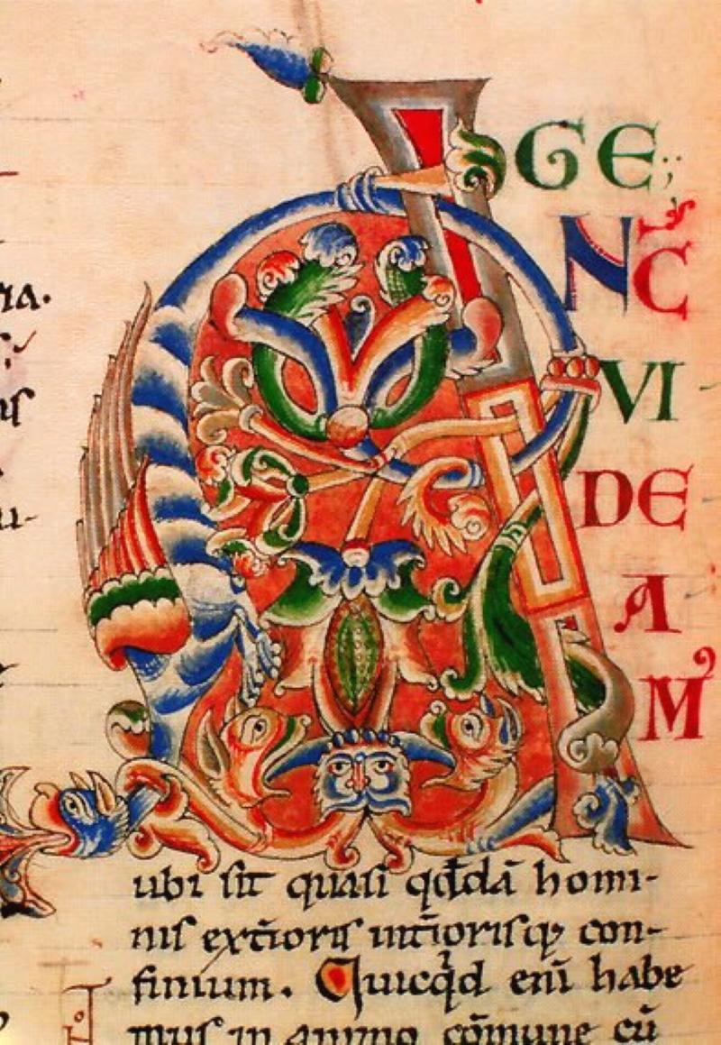 Сотворение Адама: литера A Библии Стефана де Хардинга XII века. Библиотека Дижона