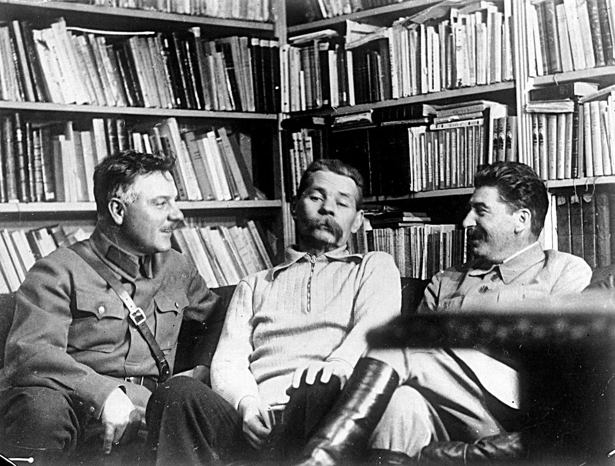 Ворошилов, Горький, Сталин (фото 1931 года)