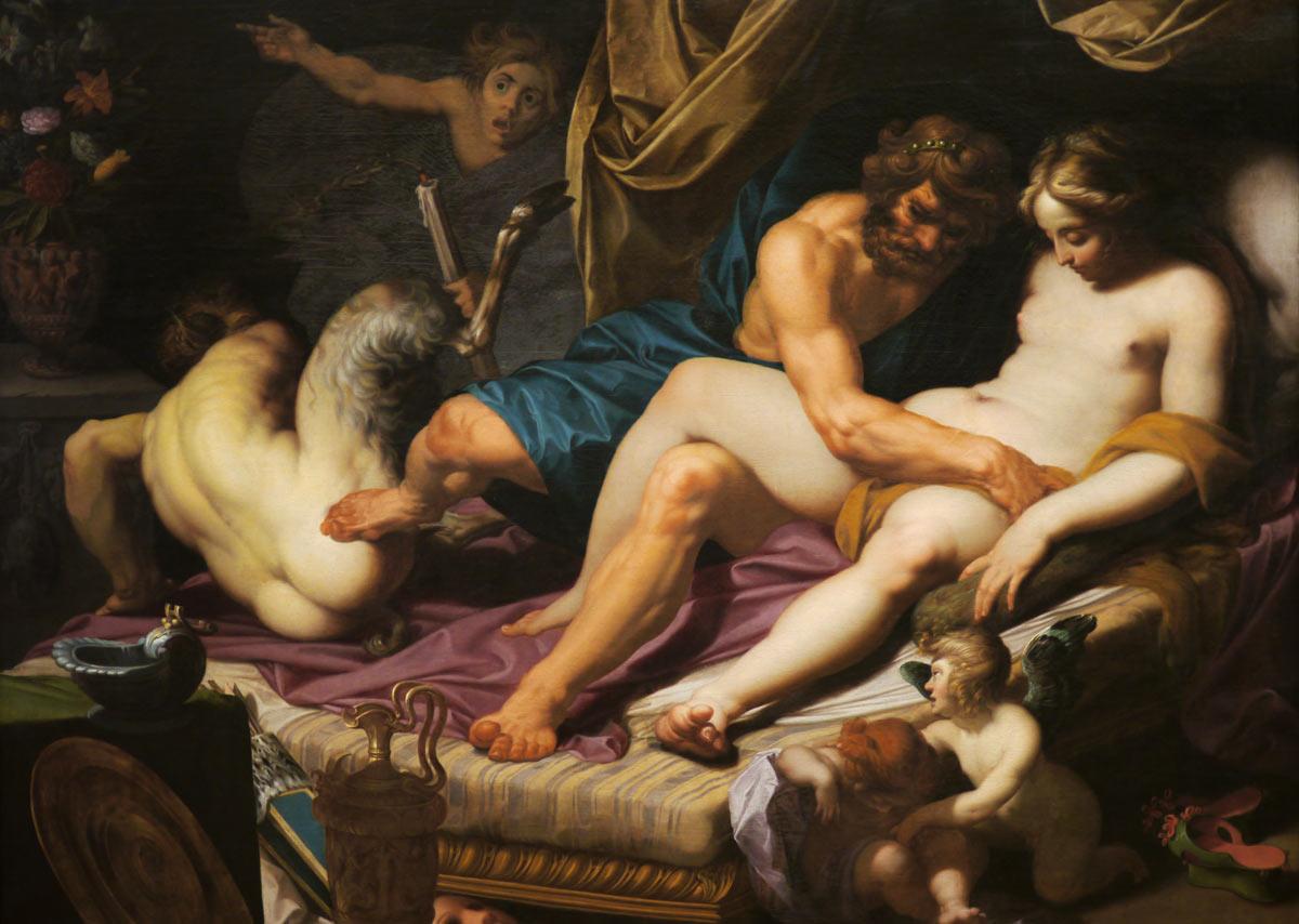 Абрахам Янсенс «Геркулес выталкивает Фавна из постели Омфалы», 1607