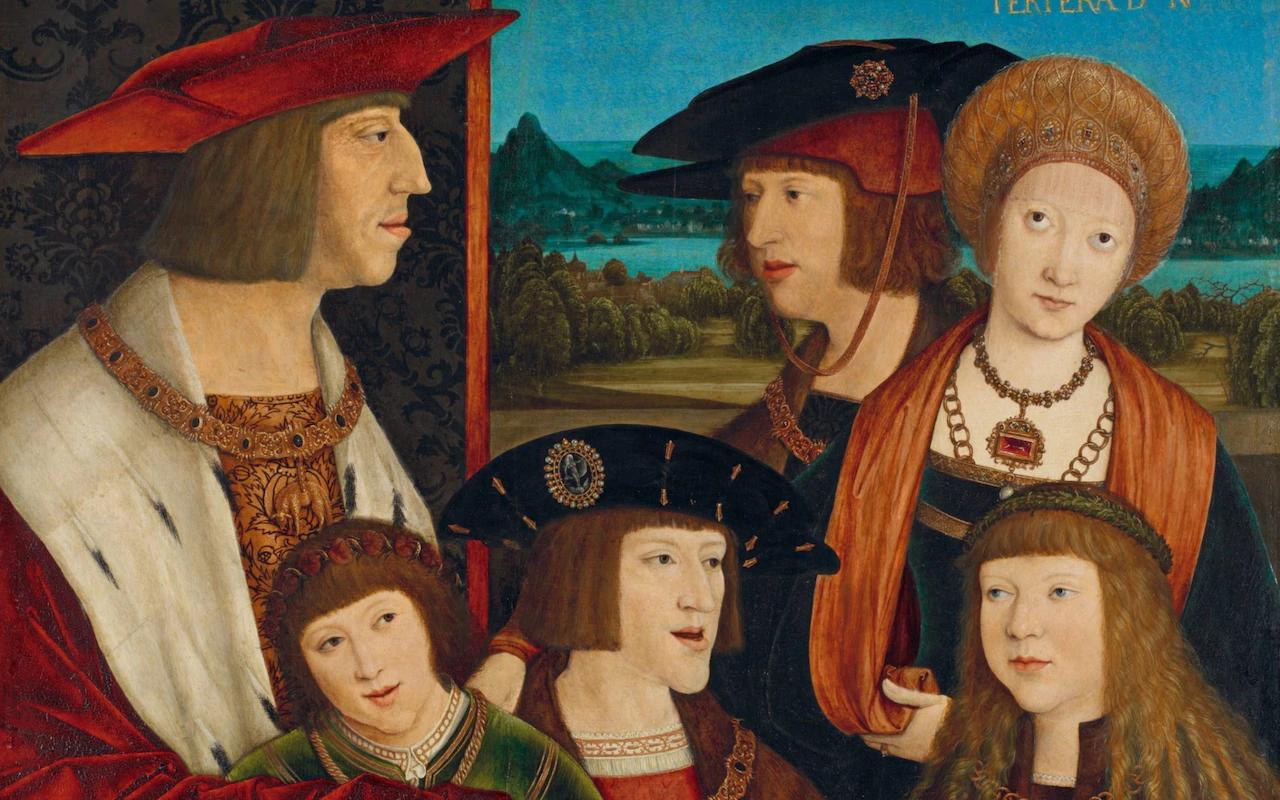 Бернхард Штригель «Император Максимилиан I с женой, сыном, внуками и будущим зятем» (фрагмент, 1515)