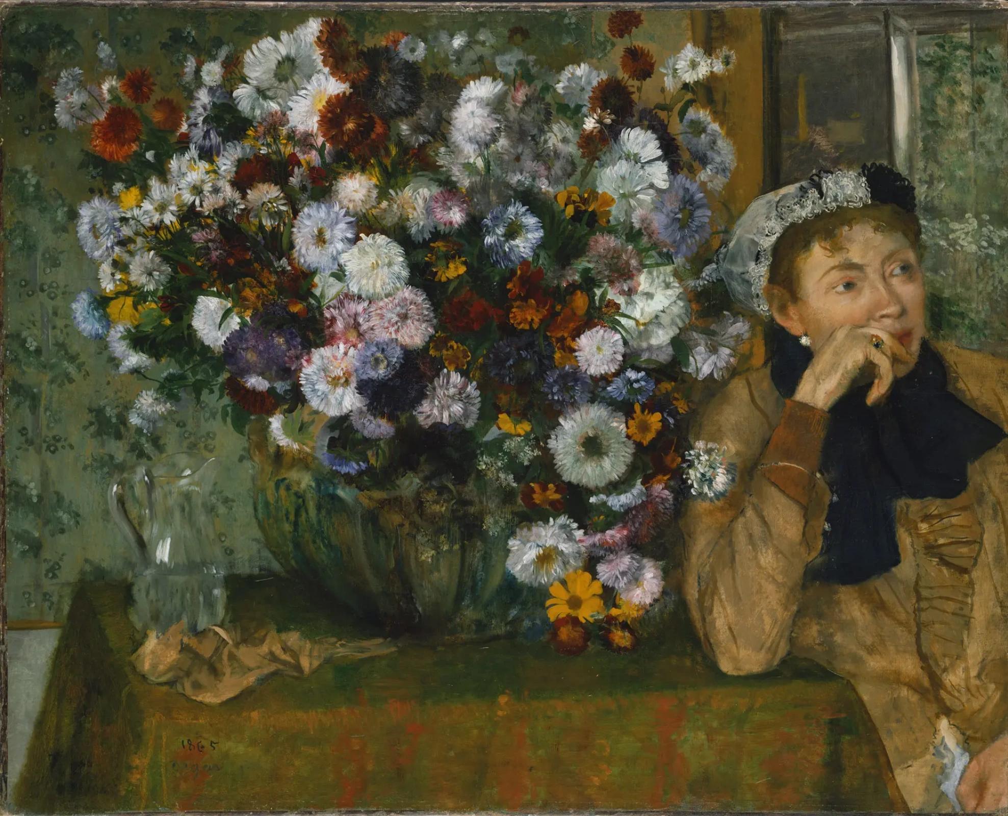 Эдгар Дега «Женщина, сидящая у вазы с цветами (Женщина с хризантемами)», 1865