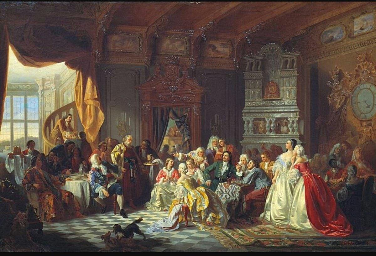 Станислав Хлебовский «Ассамблея при Петре I» (1858)