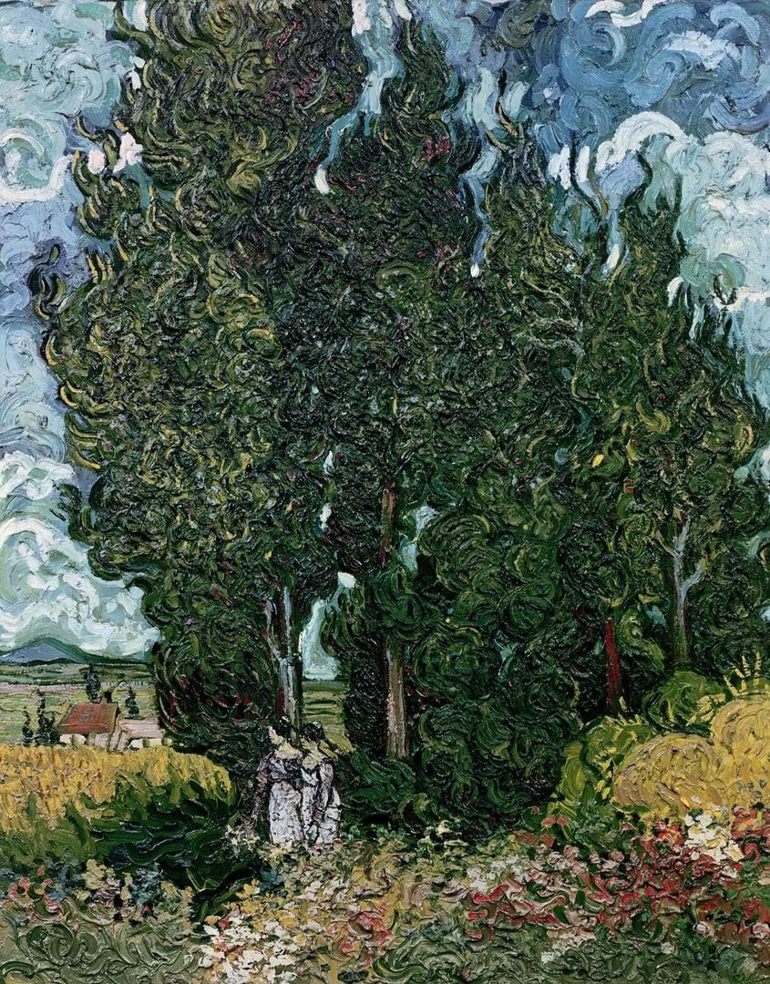 Винсент ван Гог «Кипарисы и две женщины» (1889)