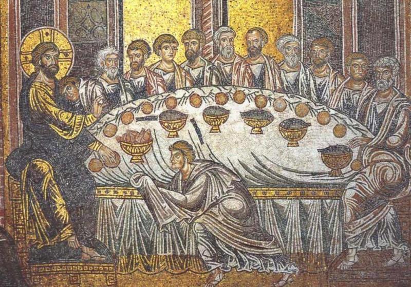 «Тайная вечеря». Мозаика Собора Монреале, Палермо, Сицилия (XII в.)