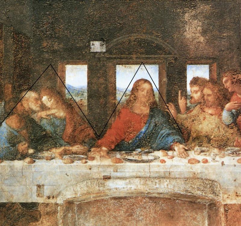 В центре композиции фрески Леонардо да Винчи — фигура Христа